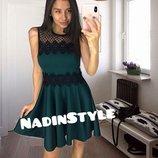 Красивое платье с сеткой и кружевом, цвет зеленый, бордо, черный. Нд