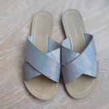 обувь шлепки серые женские 24,2 см стеька перелив Atmosphere Атмосфера