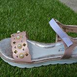 Детские босоножки нарядные стильные на девочку розовые пудровые 31-36
