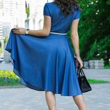 Платье-Рубашка Миди , на пуговицах , с пояском и карманами смл