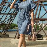 Трендовое платье женское льняное Лион синий