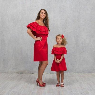 Платье с воланом комплект платьев с воланом фемели лук мама дочка