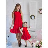 Платье с рюшей комплект фемели лук комплект мама дочка