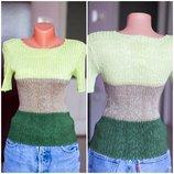 Новая футболка топ, нарядный топ 34 - 36 XS S размер зеленый топ фисташковая футболка