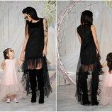 Комплект платьев фемели лук комплект платьев с фатином мама дочка платье с фатином на фотосессию