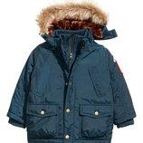 Детская зимняя парка с мехом для мальчика от H&M Англия Размер 116, 122