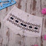 Белые джинсовые шорты с вышивкой Denim