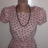 Розовая блуза с коротким рукавом футболка Oodji с бабочками