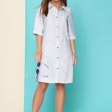 Льняное платье-рубашка фактурный лен L 102 серый