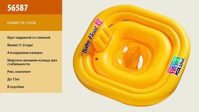 Круг надувн. 56587 12шт со спинкой, винил 1-2года 3-ное кольцо, рем комплект, до 15кг, 79см