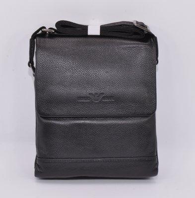 Сумка мужская кожаная Giorgio Armani 7911-3 черная