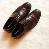 Коричневые кожаные мужские туфли броги со шнуровкой от ecco Ecco