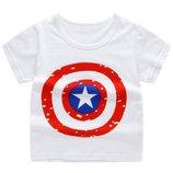 Футболка детская белая принт щит Капитана Америка размеры 90,100,110 Код YXYY0015