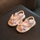Сандали детские для девочек розовые аппликация бабочка На липучке 18-19 р код F02