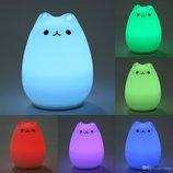 Светодиодный светильник - ночник силиконовый Котик LED Sleep Lamp