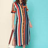 Стильное платье в трендовую полоску шелк L 103 красный