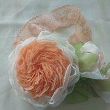 Повязка на голову для маленьких принцесс ручная работа, цветы из шифона и атласных лент