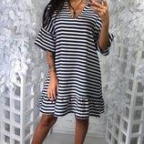 летнее свободное платье в полоску мб16