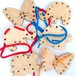 Шнуровка,шнуровочка,деревянные игрушки,развивающие игрушки,шнурівка