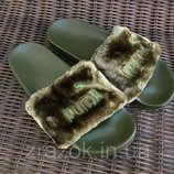 Супер цена Шлепки шлепанцы с мехом ,меховые тапки ,меховушки оливкового цвета ,хаки Puma