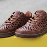 Летние мужские кожаные туфли высокого качества коричневые