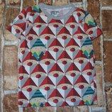 футболка хб Санта 2-3года Некст Сток большой выбор одежды 1-16лет