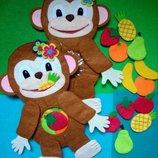 Развиваюшая игрушка из фетра обезьянка