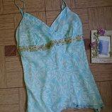 Красивая шелковая майка, блуза, блузка, топ р.50