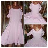 Невесомые платья миди в полоску с воланами на груди и руках,2 цвета с,м,л,хл