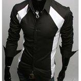 Рубашка мужская черно-белая с отложным воротником
