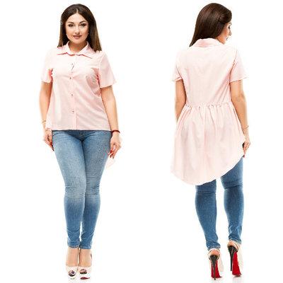 4a3bb839915 Стильная летняя женская рубашка-туника в больших размерах 5073 Бенгалин  Шлейф Пуговички в расцветк