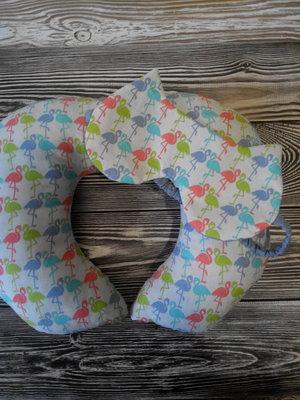 дорожная подушка фламинго под шею для сна в поездке