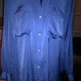 Cиняя атласная блуза