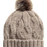 Вязаная шапка косами шарсть с помпоном от H&M