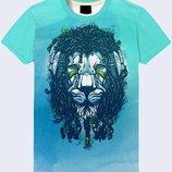 Прикольная 3D футболка Лев с дредами