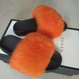 Шлепанцы из натурального меха пушистого кролика, код nlv-7011