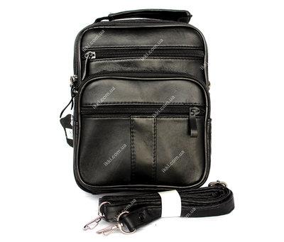 Кожаная сумка для мужчин вместительная черная 8655