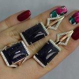 Серьги / кольцо серебряные с кабашонами 146