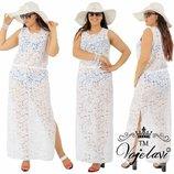 пляжное платье.ткань- гипюр органза .