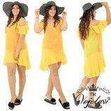 пляжное платье.ткань- шифон жемчуги на воланах.