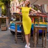 Шокирующая цена Платье футляр с вырезом от р40 по р52 классическое за колено трикотаж разные цвета