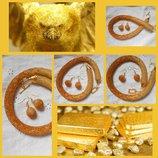 Солнечный набор золотой песок , бисер, ручная работа