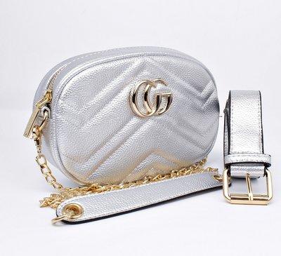 468e90c00b4c Сумочка-Клатч на пояс, через плечо женская кожзам серебро Gucci 20875-11