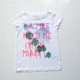 Белая футболка Next в пальмах с блеском на девочку 4 лет
