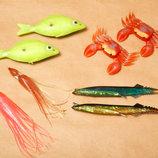 Приманка для рыбалки силиконовые и пластмассовые. Набор - 8 штук.