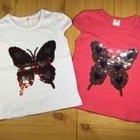 Детская футболка Бабочка рр. 80-128 пайетки перевертыши девочке Beebaby Бибеби