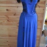 платье цвета синий электрик кружево,стразы, бисер
