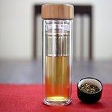 Стеклянная термо бытылочка Detox Drop Bottle с двойными стенками, 400 мл. Пп бутылка для чая, кофе..