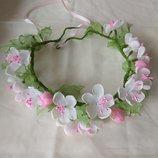 Веночек Цвет яблони цветы из шифона и атласных лент, ободок, обруч