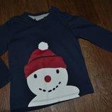 Кофта реглан тонкий мальчику р80-86 Снеговик